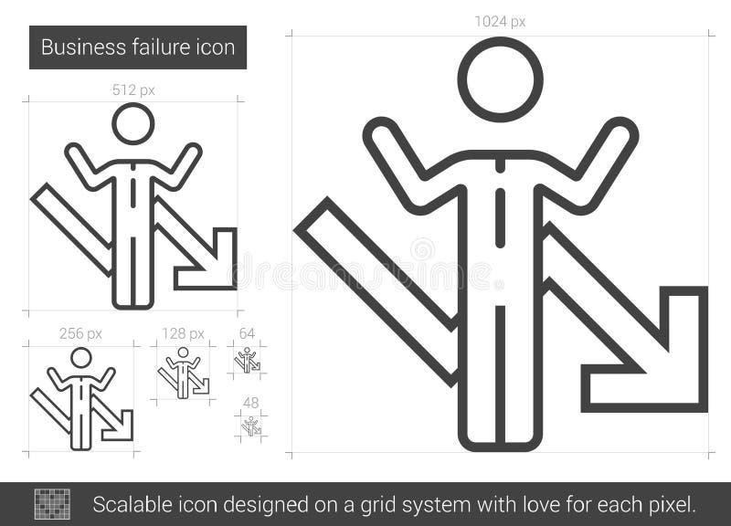 Ligne icône de faillite commerciale illustration de vecteur
