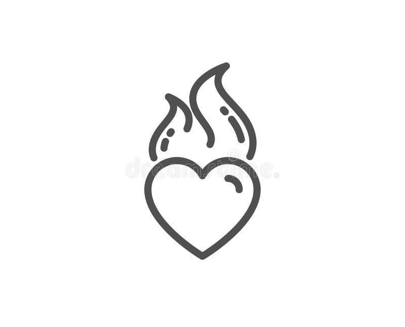 Ligne ic?ne de flamme de coeur Signe d'?motion du feu d'amour Vecteur illustration stock