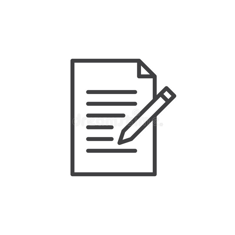 Ligne icône de forme de contact Écrivez, éditez le signe de vecteur d'ensemble, pictogramme linéaire de style d'isolement sur le  illustration de vecteur