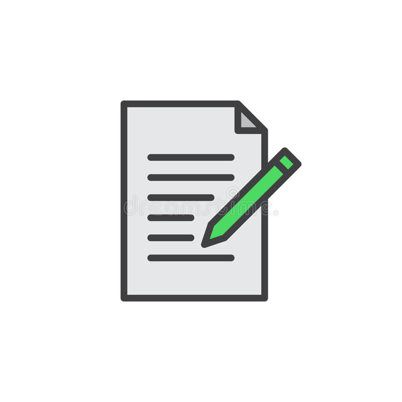 Ligne icône de forme de contact Écrivez, éditez le signe rempli de vecteur d'ensemble, pictogramme coloré linéaire d'isolement su illustration de vecteur