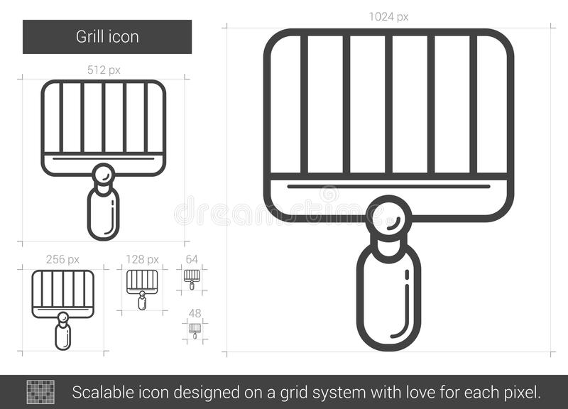 Ligne icône de gril illustration stock