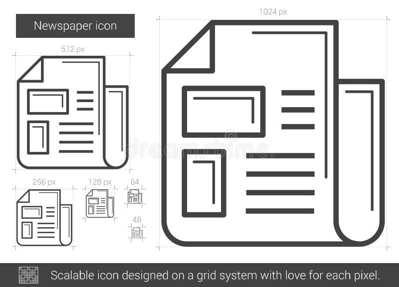 Ligne icône de journal illustration de vecteur