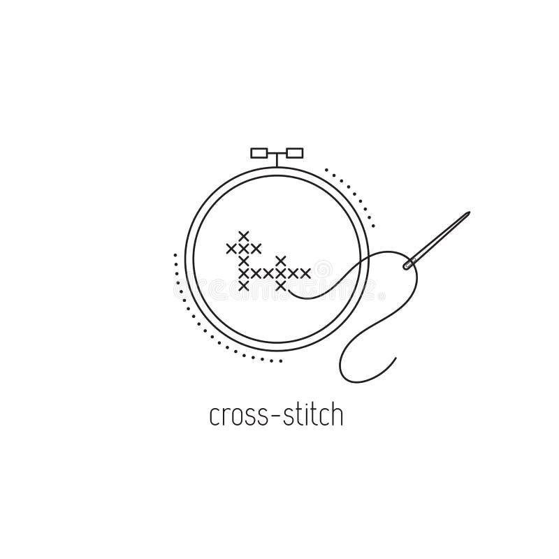 Ligne icône de point de croix illustration stock