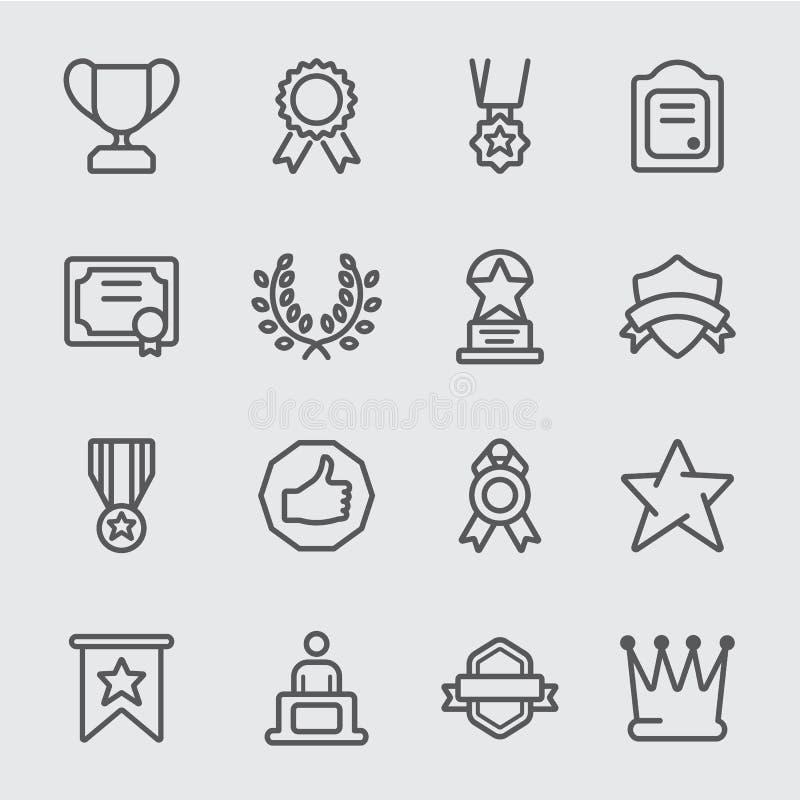 Ligne icône de récompense illustration stock