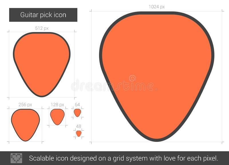 Ligne icône de sélection de guitare illustration stock