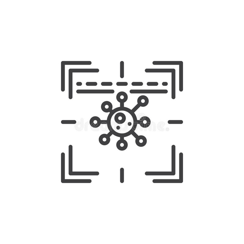 Ligne icône de scanner d'antivirus illustration de vecteur