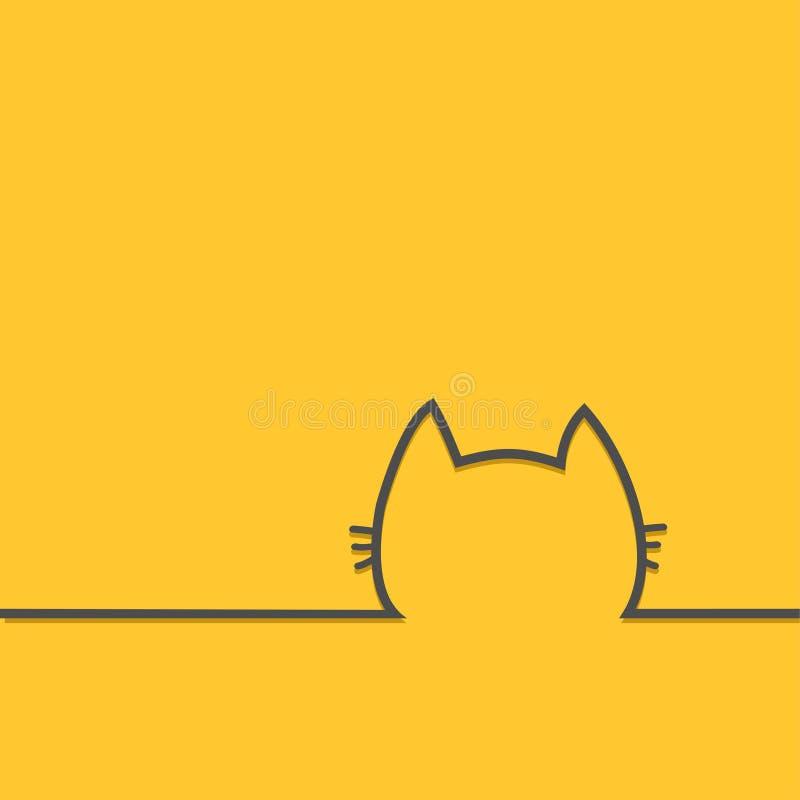 Ligne icône de silhouette de découpe de visage de tête de chat noir Chaton de Kitty avec le personnage de dessin animé mignon de  illustration de vecteur