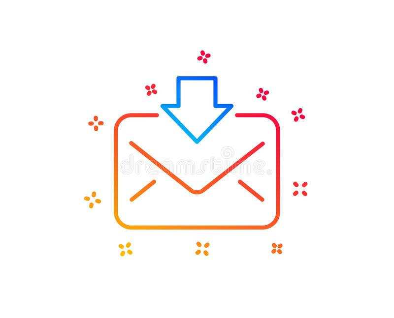 Ligne ic?ne de t?l?chargement de courrier Signe de correspondance de messages entrants Vecteur illustration de vecteur