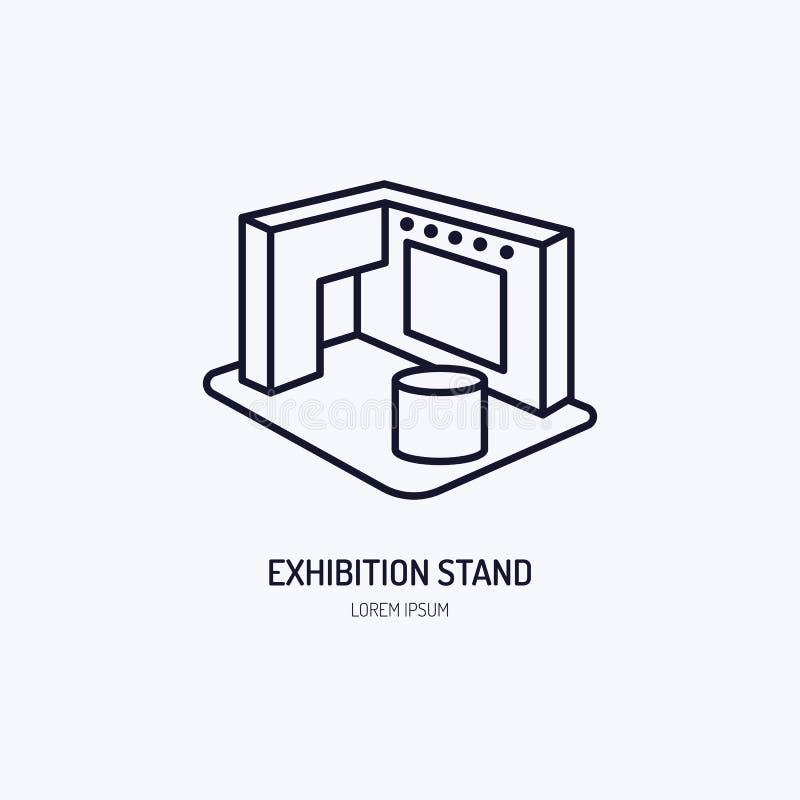 Ligne icône de vecteur de support de bannière d'exposition La publicité du signe illustration de vecteur