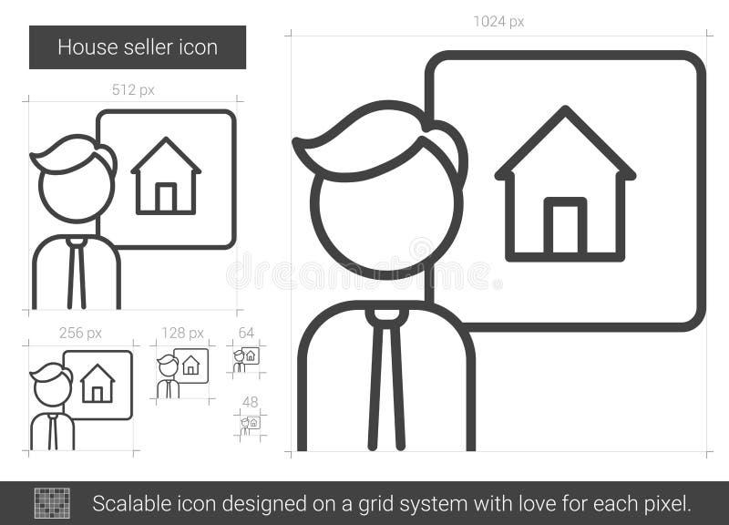 Ligne icône de vendeur de Chambre illustration stock