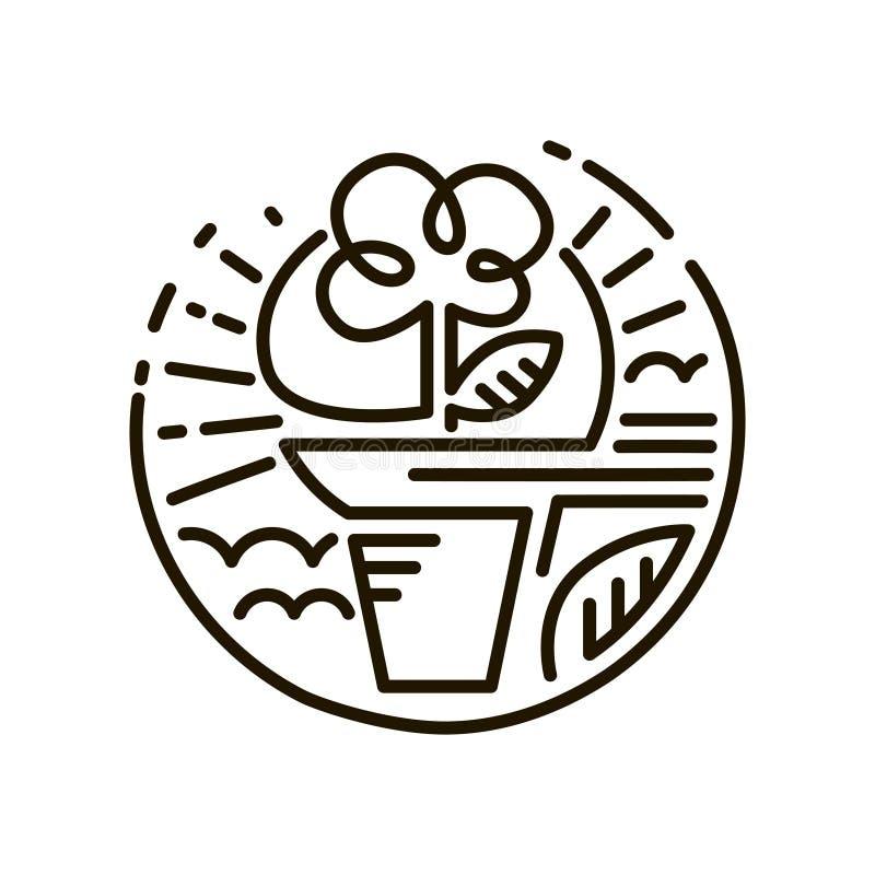 Ligne icône de Web Fleur dans un bac Ligne Art Icon illustration de vecteur
