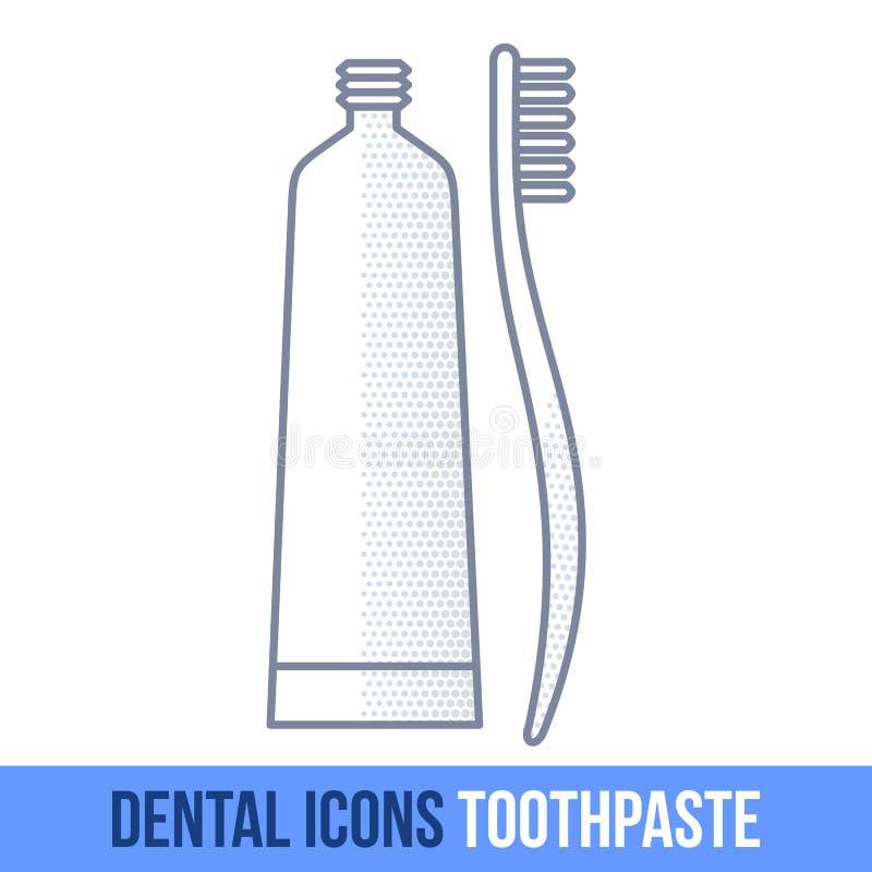 Ligne icône dentaire de vecteur toothpaste illustration stock