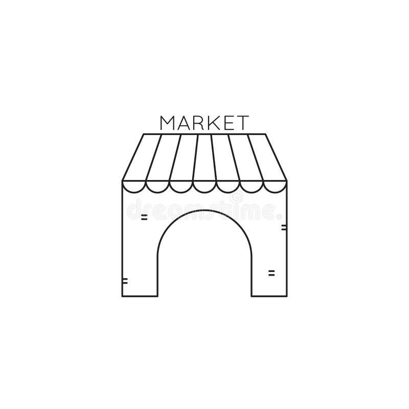 Ligne icône du marché de souvenir illustration stock