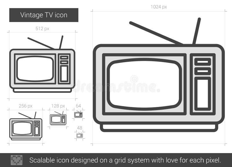 Ligne icône du vintage TV illustration stock