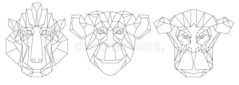 Ligne icône-géométrique triangulaire principale animale conception illustration stock