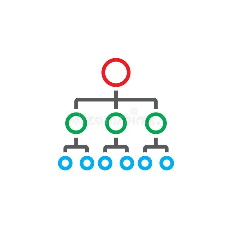 Ligne icône, logo d'organigramme de vecteur de hiérarchie d'ensemble illustration stock