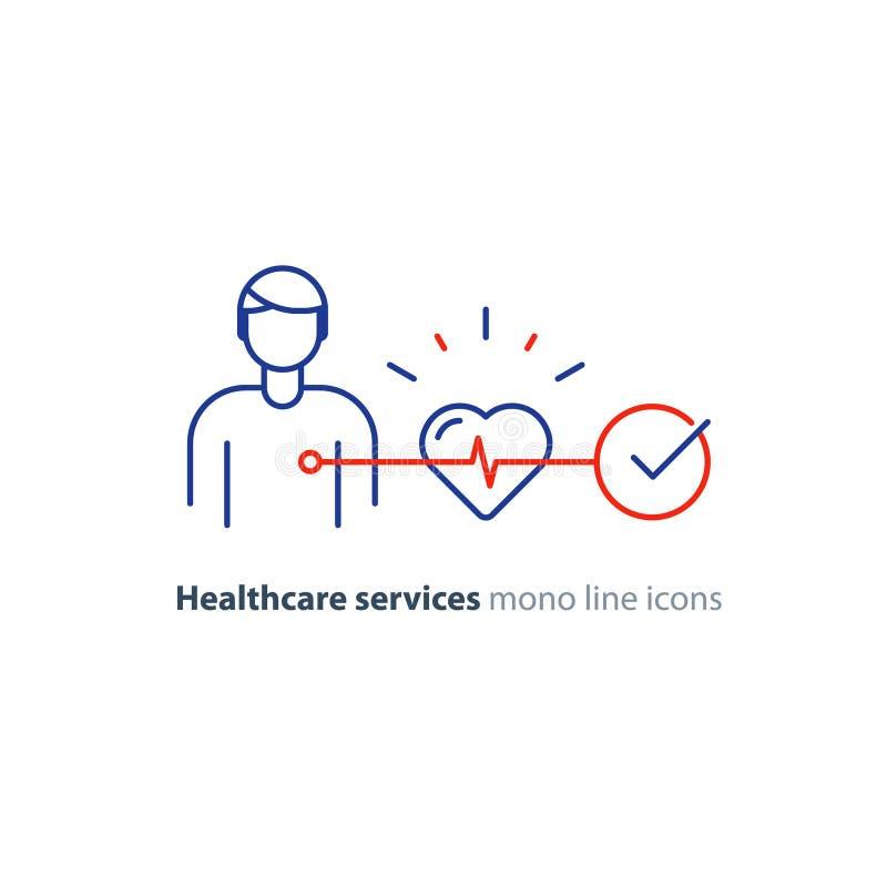 Ligne icône, logo de moniteur d'électrocardiogramme, examen d'essai de coeur de cardiologie illustration libre de droits