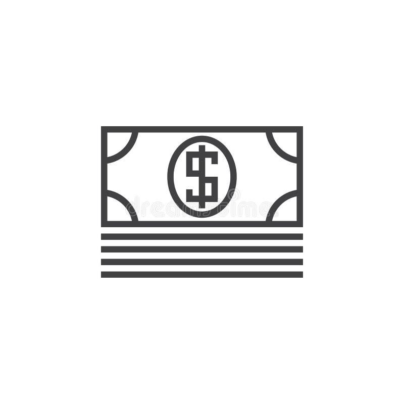 Ligne icône, logo de vecteur d'ensemble, pictogramme linéaire d'argent de billet de banque illustration stock