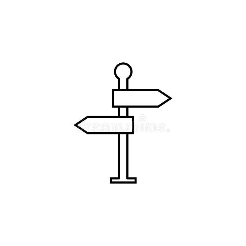 Ligne icône, panneau routier de poteau indicateur de navigation illustration libre de droits