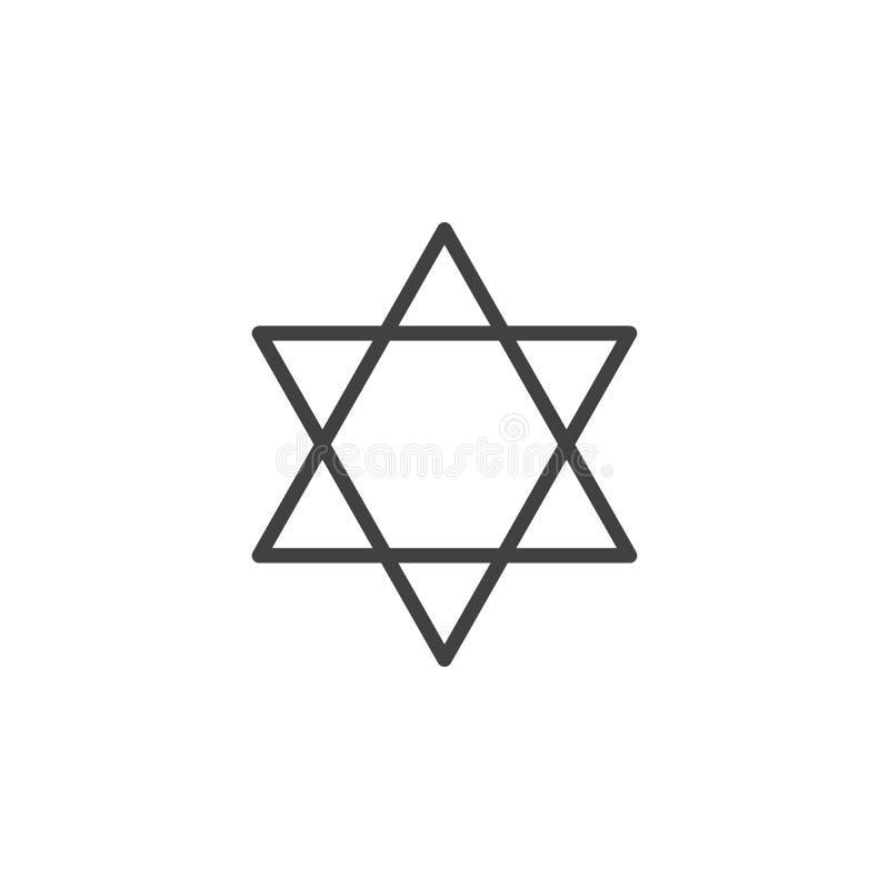 Ligne icône, signe de vecteur d'ensemble, pictogramme linéaire d'étoile de David de style d'isolement sur le blanc illustration libre de droits