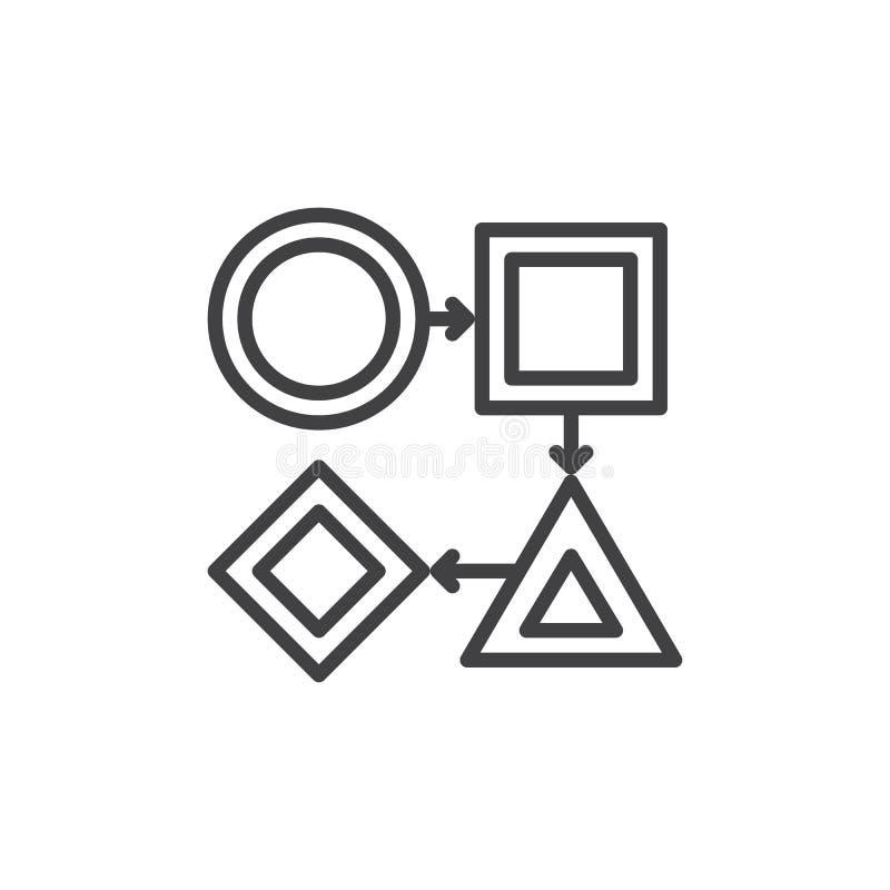 Ligne icône, signe de vecteur d'ensemble, pictogramme linéaire de déroulement des opérations de style d'isolement sur le blanc Sy illustration libre de droits
