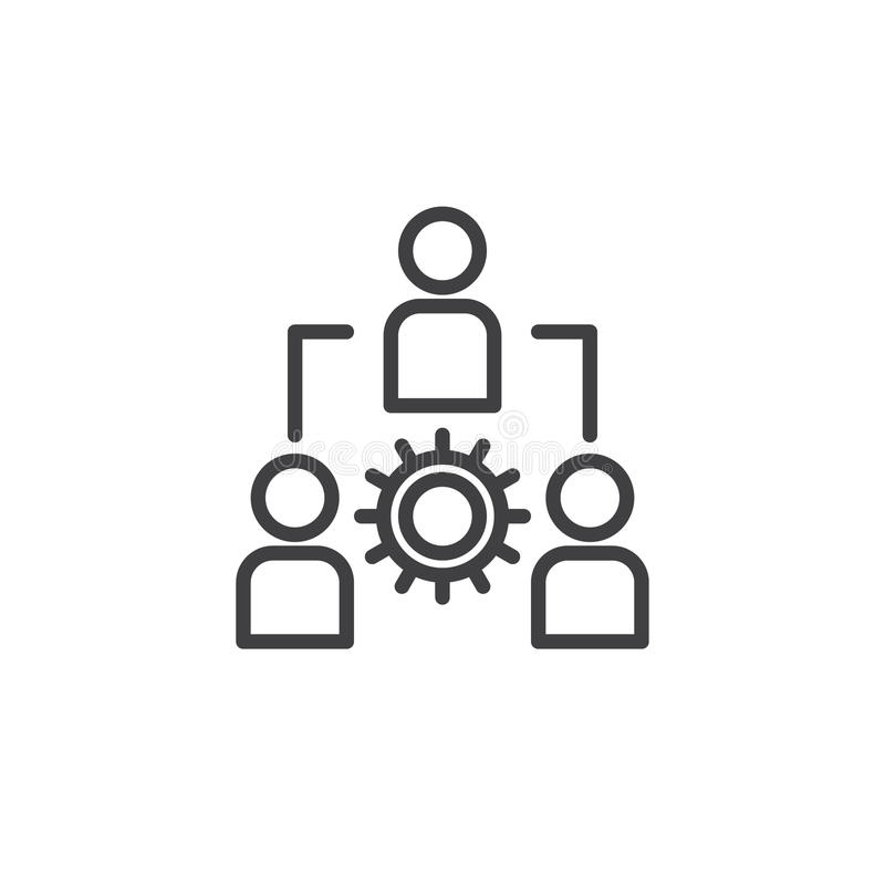 Ligne icône, signe de vecteur d'ensemble, pictogramme linéaire de gestion de style d'isolement sur le blanc illustration libre de droits