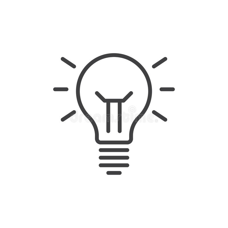 Ligne icône, signe de vecteur d'ensemble, pictogramme linéaire de lampe d'idée de style d'isolement sur le blanc Symbole, illustr illustration libre de droits