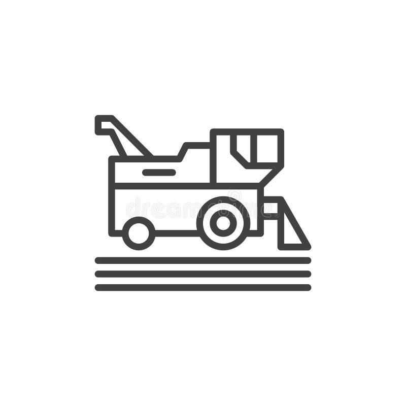 Ligne icône, signe de vecteur d'ensemble, pictogramme linéaire de moissonneuse de cartel de style d'isolement sur le blanc Symbol illustration de vecteur