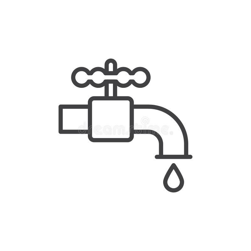Ligne icône, signe de vecteur d'ensemble, pictogramme linéaire de robinet d'eau de tuyauterie de style d'isolement sur le blanc illustration libre de droits