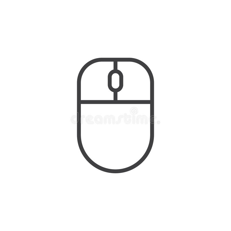 Ligne icône, signe de vecteur d'ensemble, pictogramme linéaire de souris d'ordinateur de style d'isolement sur le blanc illustration stock