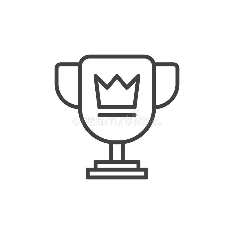 Ligne icône, signe de vecteur d'ensemble, pictogramme linéaire de tasse de trophée de style d'isolement sur le blanc illustration de vecteur