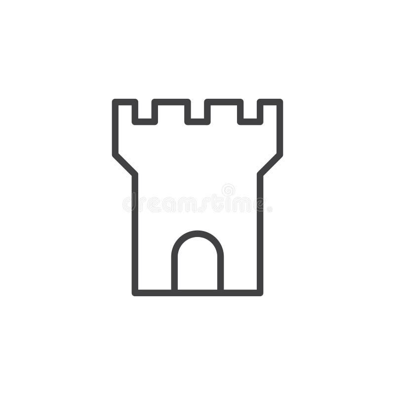 Ligne icône, signe de vecteur d'ensemble, pictogramme linéaire de tour de forteresse de style d'isolement sur le blanc illustration de vecteur