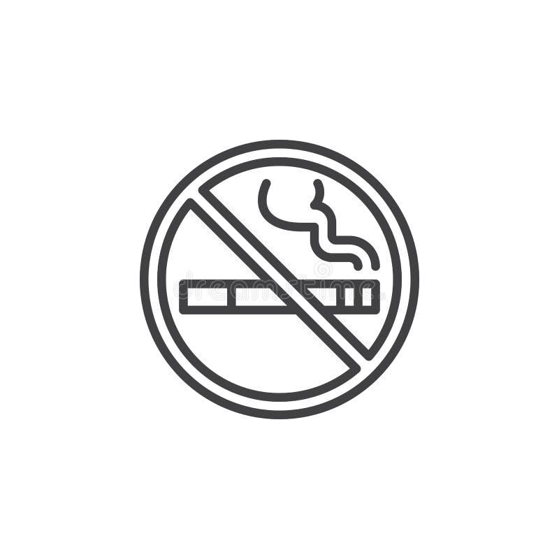 Ligne icône, signe de vecteur d'ensemble, pictogramme linéaire de zone non-fumeurs d'isolement sur le blanc illustration de vecteur