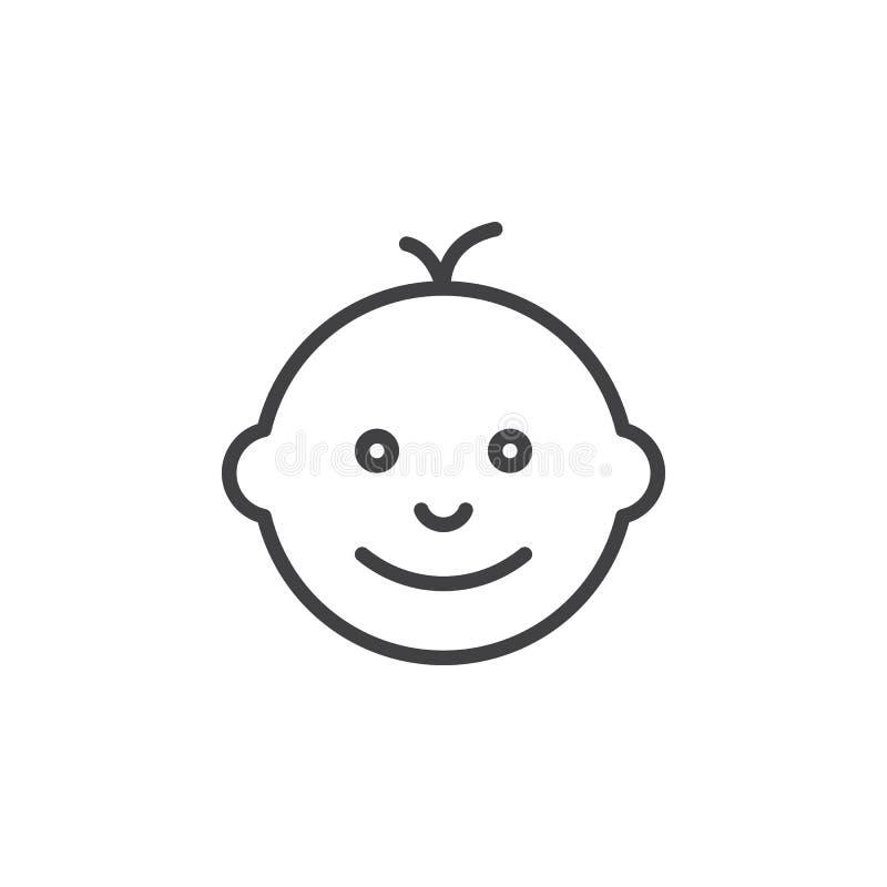 Ligne icône, signe de visage de bébé de vecteur d'ensemble illustration stock