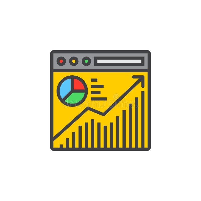 Ligne icône, signe rempli d'analyse de trafic de site Web de vecteur d'ensemble illustration libre de droits