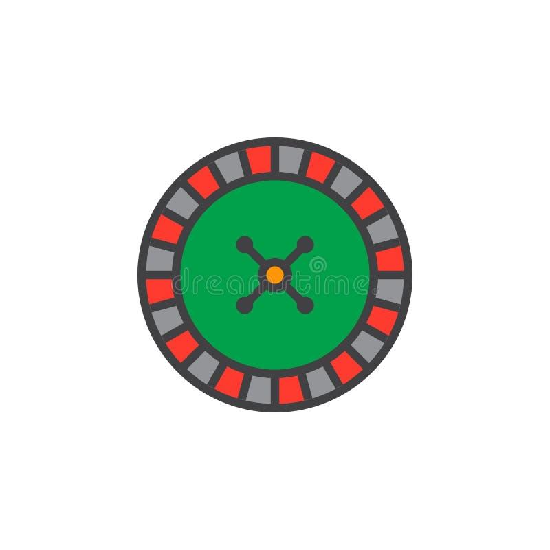 Ligne icône, signe rempli de vecteur d'ensemble, col linéaire de roue de roulette illustration libre de droits