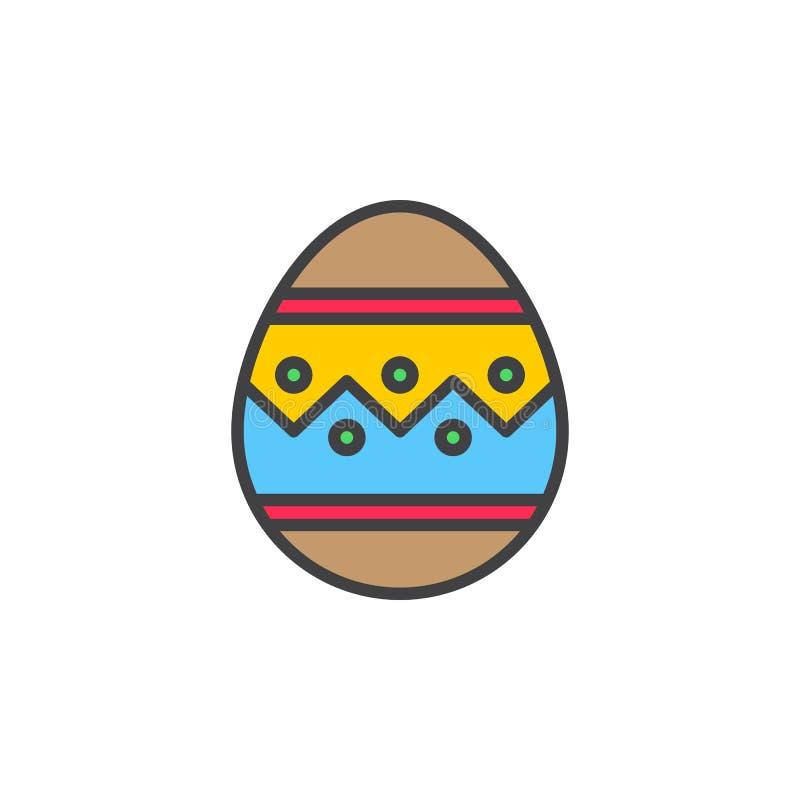 Ligne icône, signe rempli de vecteur d'ensemble, pictogramme coloré linéaire d'oeuf de pâques d'isolement sur le blanc illustration stock