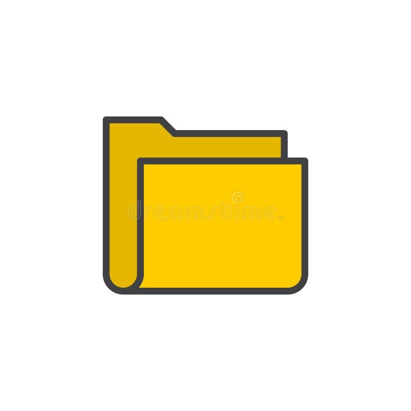 Ligne icône, signe rempli de vecteur d'ensemble, pictogramme coloré linéaire de dossier d'isolement sur le blanc illustration libre de droits