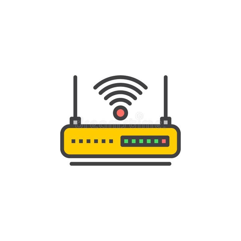 Ligne icône, signe rempli de vecteur d'ensemble, pictogramme coloré linéaire de routeur de WIFI d'isolement sur le blanc illustration libre de droits