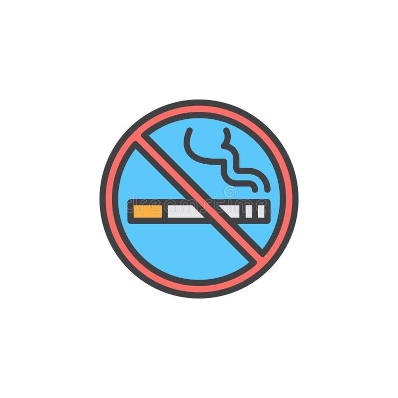 Ligne icône, signe rempli de vecteur d'ensemble, pictogramme coloré linéaire de zone non-fumeurs d'isolement sur le blanc illustration stock