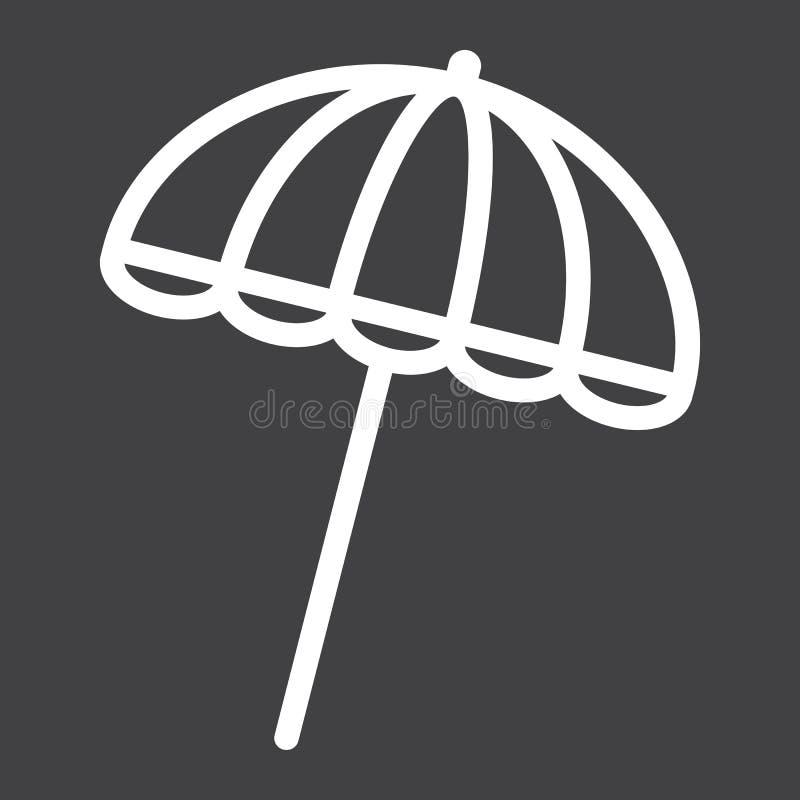 Ligne icône, tourisme de voyage, parasol de parapluie de Sun illustration de vecteur