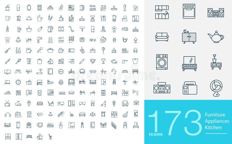 173 ligne icônes illustration stock