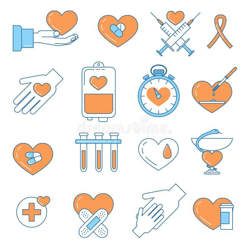 Ligne icônes colorées de don du sang de conception illustration de vecteur