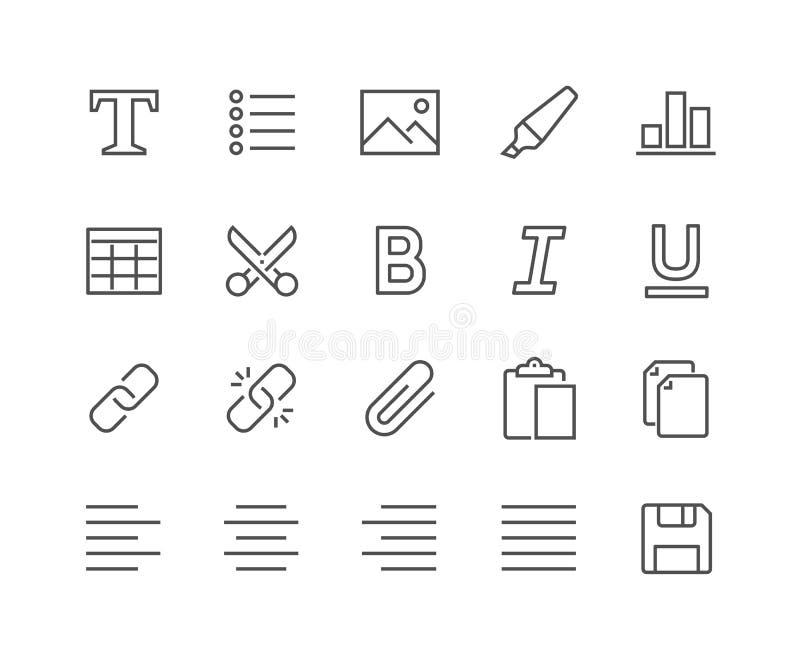 Ligne icônes d'édition de textes illustration libre de droits