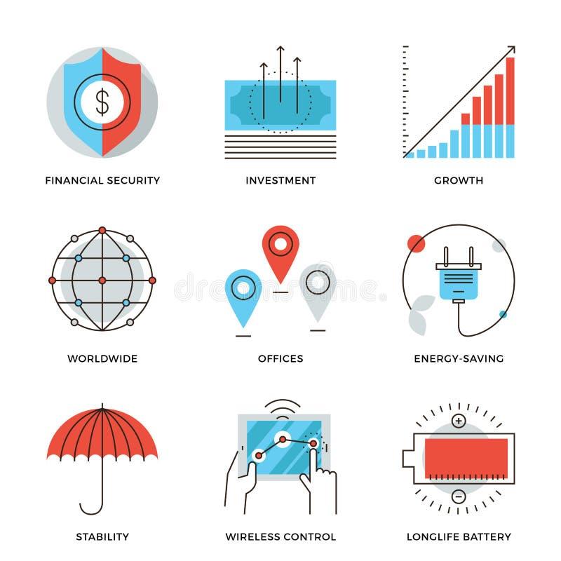 Ligne icônes d'éléments d'affaires globales réglées illustration de vecteur