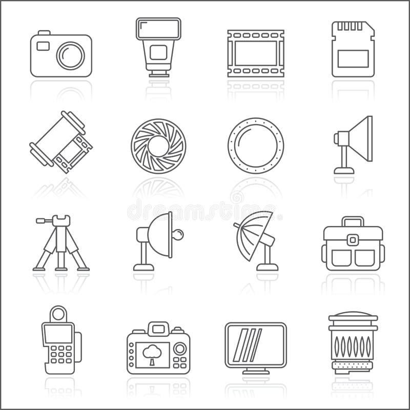 Ligne icônes d'équipement de photographie illustration stock