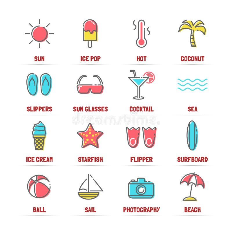 Ligne icônes d'été avec des couleurs plates illustration stock