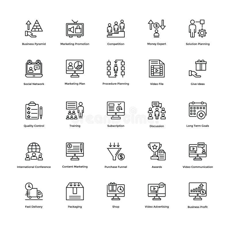 Ligne icônes 11 d'affaires et de finances de vecteur illustration de vecteur
