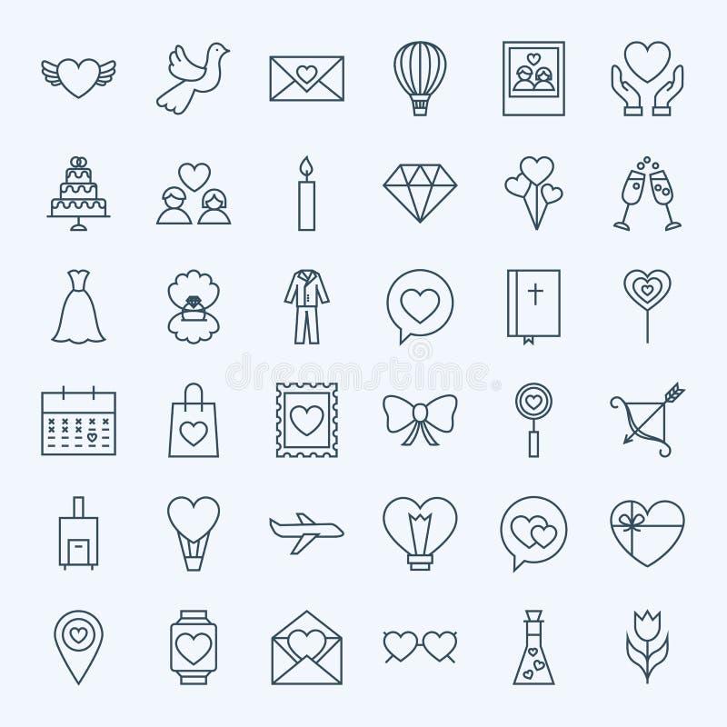 Ligne icônes d'amour illustration de vecteur