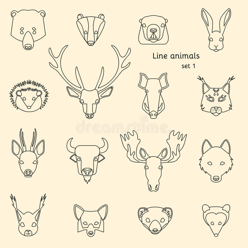 Ligne icônes d'animaux de forêt illustration stock